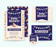 Śliczny Cyrkowy tematu dziecka prysznic zaproszenia karty ilustraci szablon Obrazy Stock