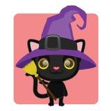 Śliczny czarny kot pozuje jako czarownica Fotografia Royalty Free