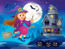 Śliczny czarownica tematu wizerunek 3 Zdjęcia Stock