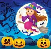 Śliczny czarownica tematu wizerunek 4 Obraz Stock