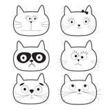 Śliczny czerń konturu kota głowy set postać z kreskówki śmieszni Biały tło odosobniony Płaski projekt Fotografia Stock