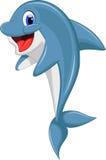 Śliczny delfin kreskówki doskakiwanie Obrazy Royalty Free