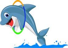 Śliczny delfin kreskówki doskakiwanie Zdjęcia Stock
