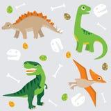 Śliczny dinosaura wzoru swatch ilustracja wektor