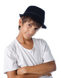 Śliczny dziecko jest ubranym fedora kapelusz zdjęcia royalty free