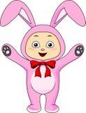 Śliczny dziecko w królika kostiumu Zdjęcie Royalty Free