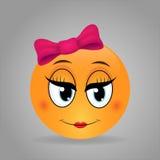 Śliczny dziewczyny emoticon Zdjęcia Stock