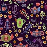 Śliczny herbata set Kolorowy wektorowy bezszwowy wzór Fotografia Royalty Free