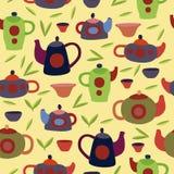 Śliczny herbata set Kolorowy wektorowy bezszwowy wzór Obrazy Stock