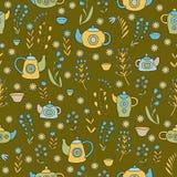 Śliczny herbata set Kolorowy wektorowy bezszwowy wzór Zdjęcie Royalty Free