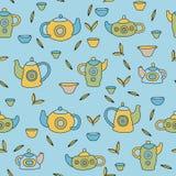 Śliczny herbata set Kolorowy wektorowy bezszwowy wzór Obraz Stock