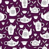 Śliczny herbata set Monochromatyczny wektorowy bezszwowy wzór Obraz Royalty Free