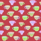 Śliczny herbata set wektor bezszwowy wzoru Zdjęcia Royalty Free