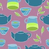 Śliczny herbata set wektor bezszwowy wzoru Obraz Royalty Free