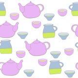 Śliczny herbata set wektor bezszwowy wzoru Obrazy Royalty Free