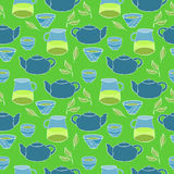 Śliczny herbata set wektor bezszwowy wzoru Fotografia Royalty Free