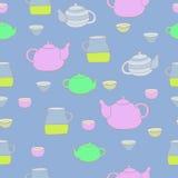 Śliczny herbata set wektor bezszwowy wzoru Fotografia Stock