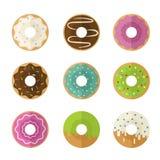 Śliczny i jaskrawy set donuts ikony Obrazy Royalty Free