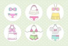 Śliczny i rocznik bikini ilustracja wektor