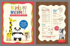 Śliczny kolorowy dzieciaka posiłku menu szablon z zwierzę kreskówką Fotografia Royalty Free