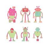 Śliczny kolorowy robot ikony set Zdjęcia Royalty Free