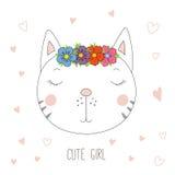 Śliczny kot dziewczyny portret Fotografia Royalty Free