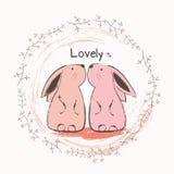 Śliczny królik i motyl Zdjęcie Royalty Free