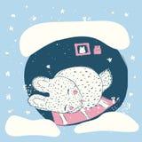 Śliczny królik w zimie Dziecka ` s ilustracja Zdjęcia Stock