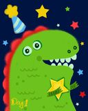 śliczny kreskówka dinosaur royalty ilustracja