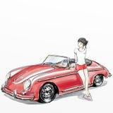 Śliczny kreskówki dziewczyny stojak z jej klasycznym samochodem Zdjęcia Royalty Free