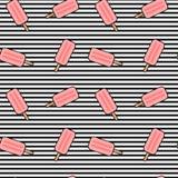 Śliczny kreskówek menchii lody na czarny i biały lampasów tła bezszwowej deseniowej ilustraci Zdjęcia Royalty Free