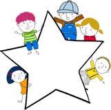 Śliczny kreskówka dzieciaków bawić się i rama Obraz Stock