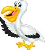 Śliczny kreskówka pelikana falowanie odizolowywający na białym tle Obraz Royalty Free
