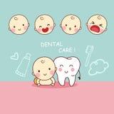 Śliczny kreskówka ząb z dzieckiem Obrazy Stock