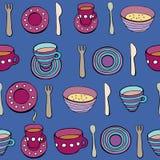 Śliczny kuchenny naczynie set wektor bezszwowy wzoru Fotografia Stock