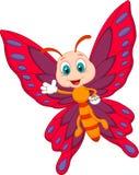 Śliczny motyli kreskówki falowanie Obrazy Stock