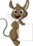Śliczny myszy kreskówki mienia pustego miejsca znak Obrazy Stock