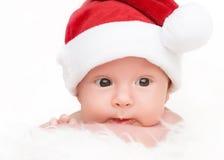 Śliczny nowonarodzony dziecko w bożych narodzeniach kapeluszowych Fotografia Royalty Free