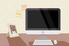 Śliczny pastelowy czysty workspace z komputerem Obrazy Royalty Free