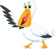 Śliczny pelikan kreskówki falowanie Zdjęcia Stock