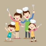 Śliczny rodzinny kucharstwo Zdjęcie Stock