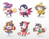 Śliczny stylu set dzieci w Halloweenowej Kostiumowej Wektorowej ilustraci ilustracja wektor