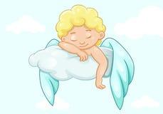 Śliczny sypialny mały anioł Obrazy Royalty Free