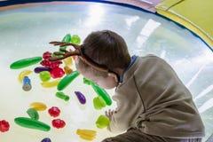 ?liczny szcz??liwy dziecko, ch?opiec bawi? si? przy kolorowymi klingeryt zabawki postaciami na boisku fotografia stock