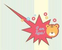 Śliczny tygrysi dziecko projekta szablon ilustracja wektor