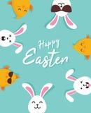 ?liczny Wielkanocnych kr?lik?w znaka szcz??liwy Wielkanocny wektor ilustracji