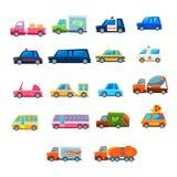 Śliczny Zabawkarski Samochodowy Ustawiający ikony Zdjęcia Royalty Free