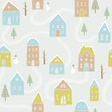 Śliczny zima domów wzór Obrazy Royalty Free