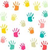 Ślicznych i kolorowych dzieci palmprints bezszwowy wzór Fotografia Stock