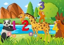 Liczyć liczby z dzikimi zwierzętami ilustracja wektor